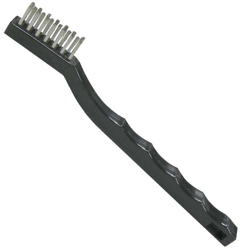"7-1/2"" Hand Scratch Brush, Stainless Steel Wire, Plastic Handle"