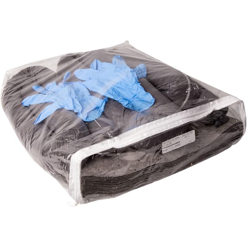 HUB Universal Spill Kit #2 -- (15) Pads, (3) Socks, Goggles, Clear Zipper Bag, Disposable Gloves, & Disposal Bag