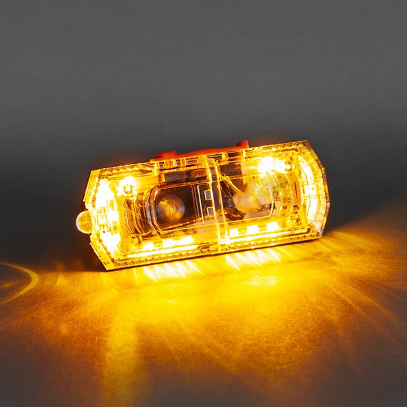 LED FLashing Light Clip-On Body Alert, Clear/Amber, Rechargeable
