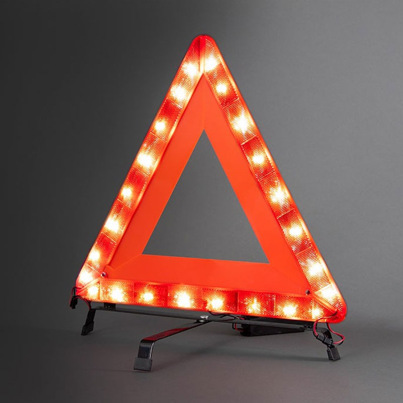 Emergency Traffic Warning Triangle, Reflective with Flashing LED Lights, Rechargeable