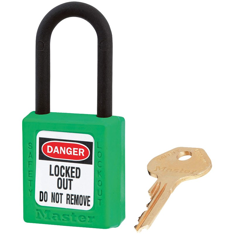 "Dielectric Safety Lockout Padlock, 1-1/2"" Shackle, Green, Keyed Differently"