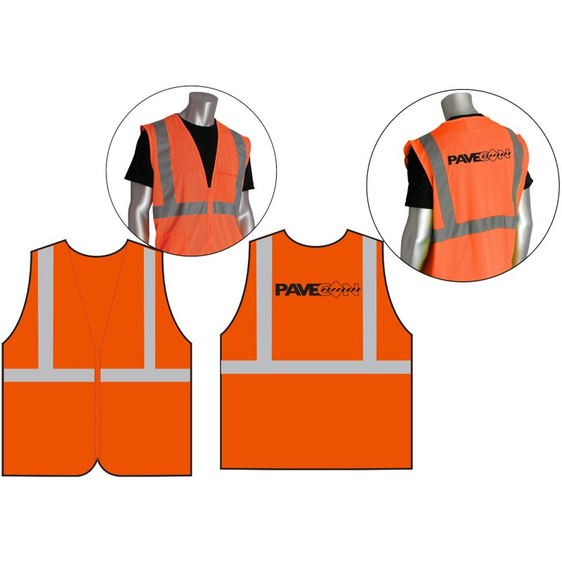 Class 2 Safety Vest - Orange Mesh, Black PaveCon Logo Printed Back Center, Large
