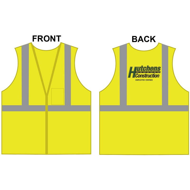MED CLS 2 SAFETY VEST -LIME GREEN MESH W/ HUTCHENS CONSTRUCTION LOGO