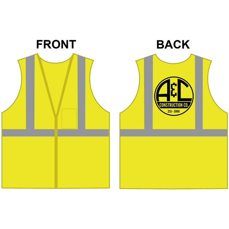 XL CLS 2 SAFETY VEST -LIME GREEN MESH W/ A&C CONSTRUCTION LOGO (1L - 1C)
