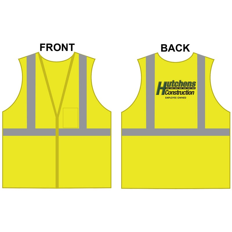 3-XL CLS 2 SAFETY VEST -LIME GREEN MESH W/ HUTCHENS CONSTRUCTION LOGO (1L - 1C)
