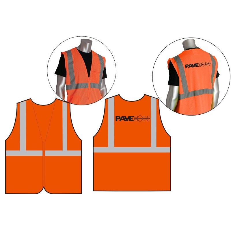 Class 2 Safety Vest - Orange Mesh, Black PaveCon Logo Printed Back Center, 3-XL