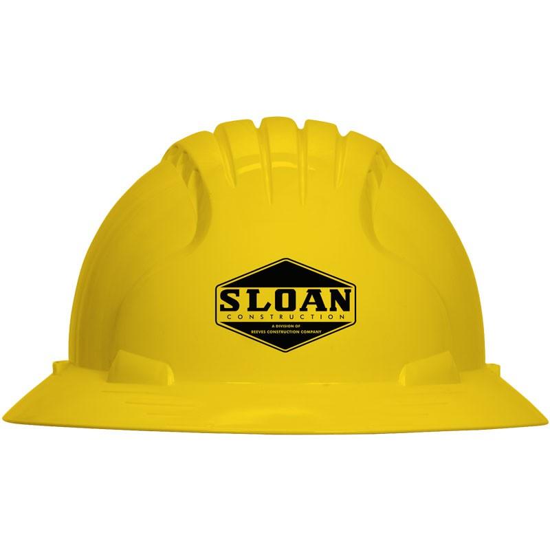 #6161 YELLOW WHEEL RATCHET FULL BRIM HARD HAT VENTED W/ SLOAN CONSTRUCTION LOGO (1C - 1L)