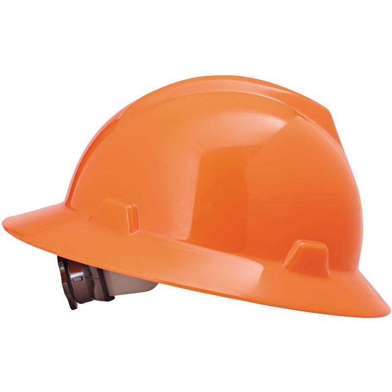 MSA V-Guard, Full Brim Hi-Vis Orange Hard Hat W/ Fas-Trac Suspension