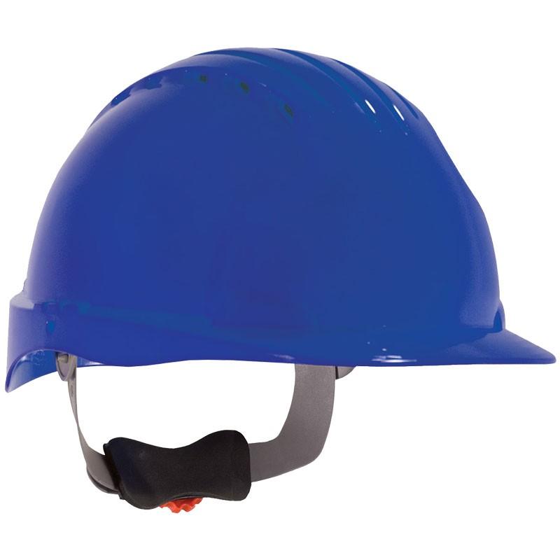 JSP® Vented Hard Hat, Wheel Ratchet Suspension, Blue