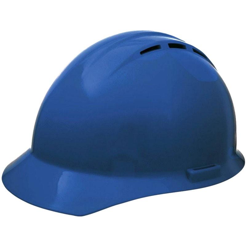 Vented Hard Hat W/ 4-pt Ratchet Suspension, Blue