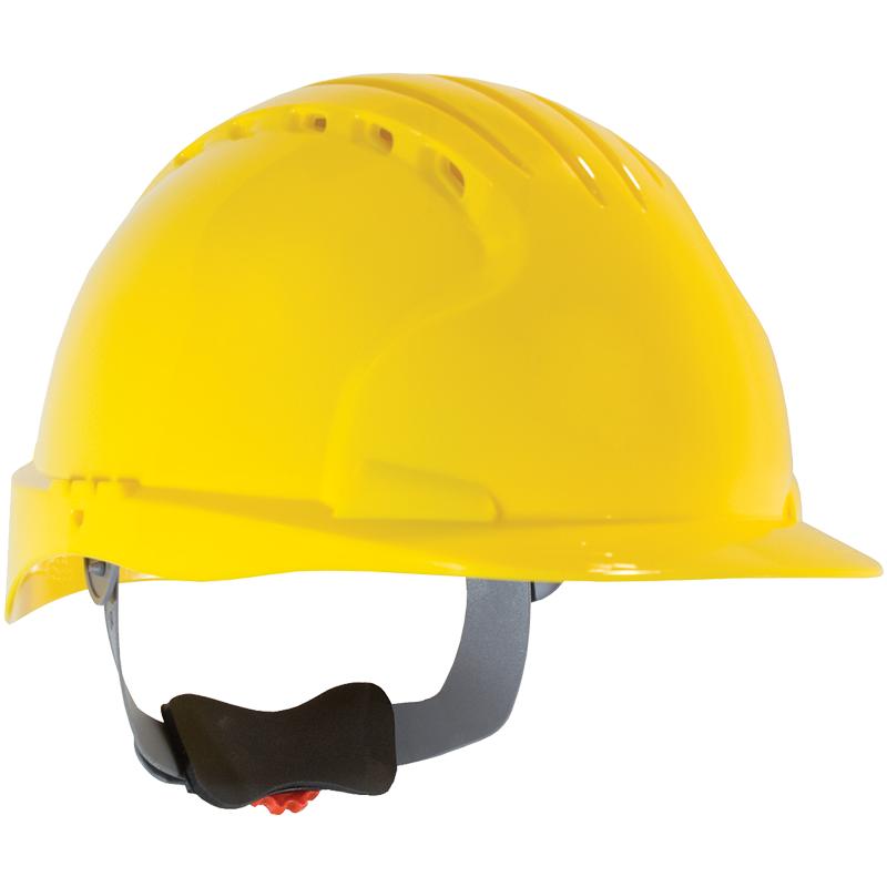 JSP® Vented Hard Hat, Wheel Ratchet Suspension, Lime Yellow