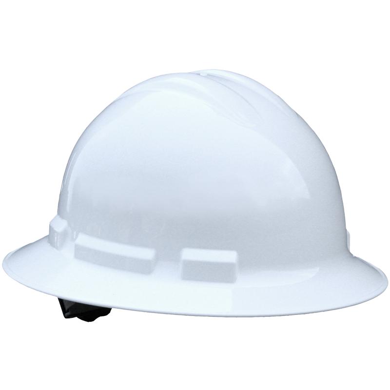 Full Brim Hard Hat, 4-Pt Wheel Ratchet Suspension, White