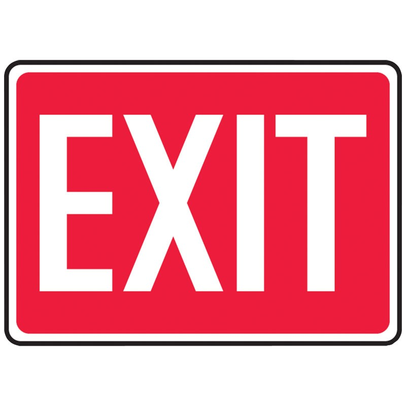 """7"""" x 10"""" Red Exit Sign with Lettering"""