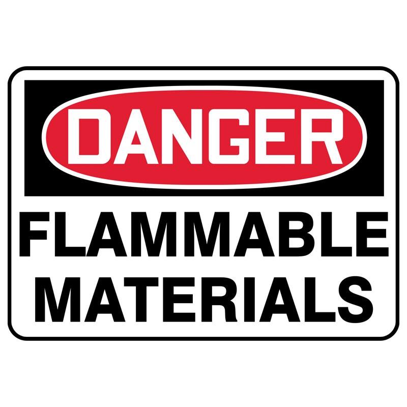 """7"""" x 10"""" Danger Flammable Materials Sign"""