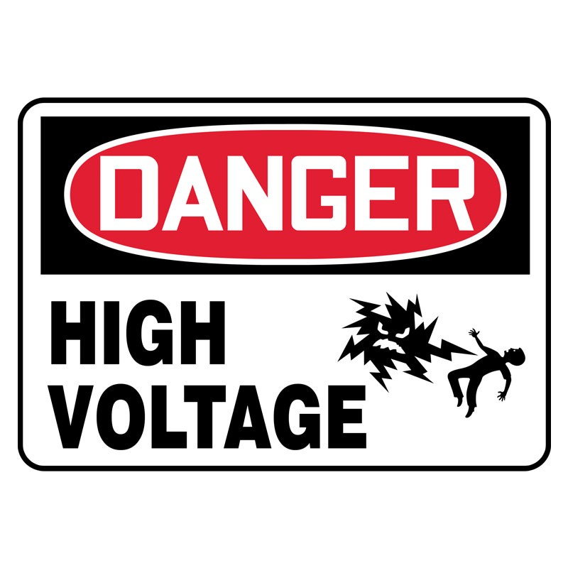 """7"""" x 10"""" Danger High Volatge Sign with Electrical Shock Symbol"""