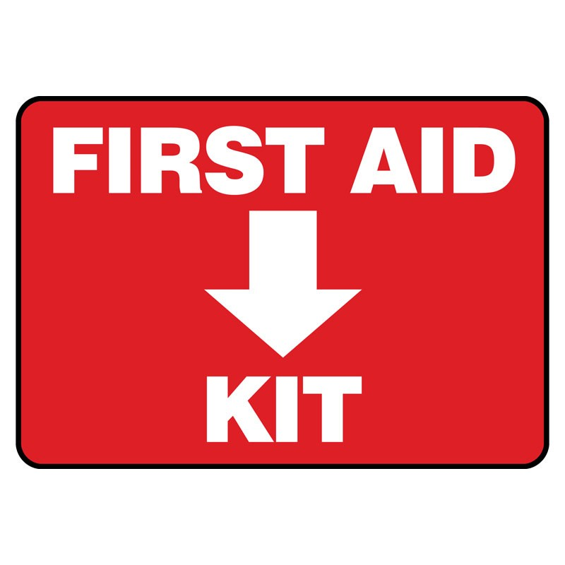 """7"""" x 10"""" First Aid Kit Sign, Plastic"""