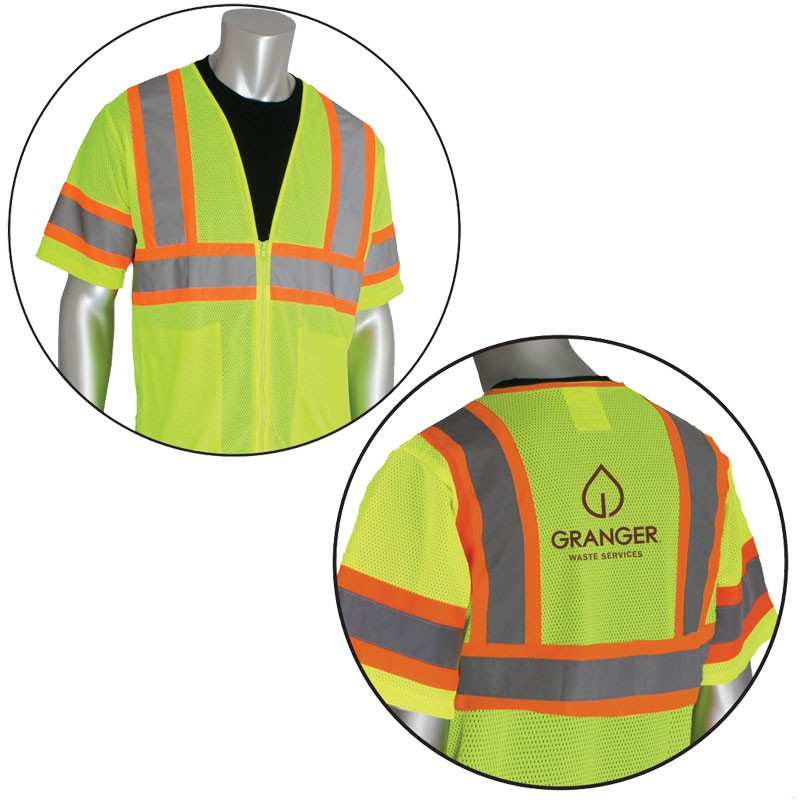 Class 3 Safety Vest, Hi-Vis Yellow, Mesh, Two-Tone Striping, Zipper Closure, 2 Internal Pockets, Granger Waste Logo Printed Back Center, 3-XL