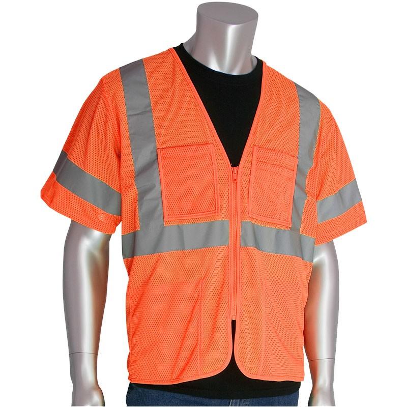 Class 3 Safety Vest, Hi-Vis Orange Mesh, Zipper Closure, 4 Pockets, Small
