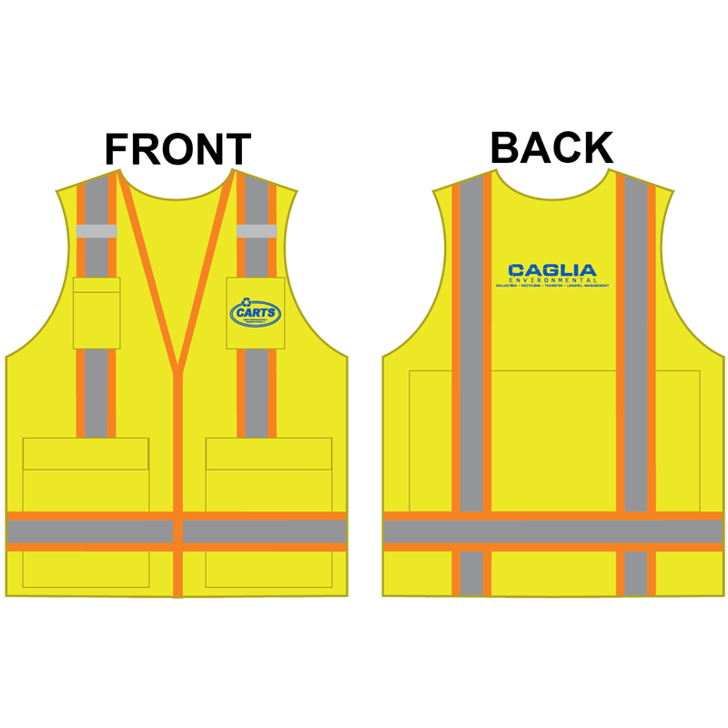 2-XL PREM CLS 2 YELLOW SURVEYORS VEST W/ IPAD POCKET W/ CAGLIA LOGO (1C - 2L)