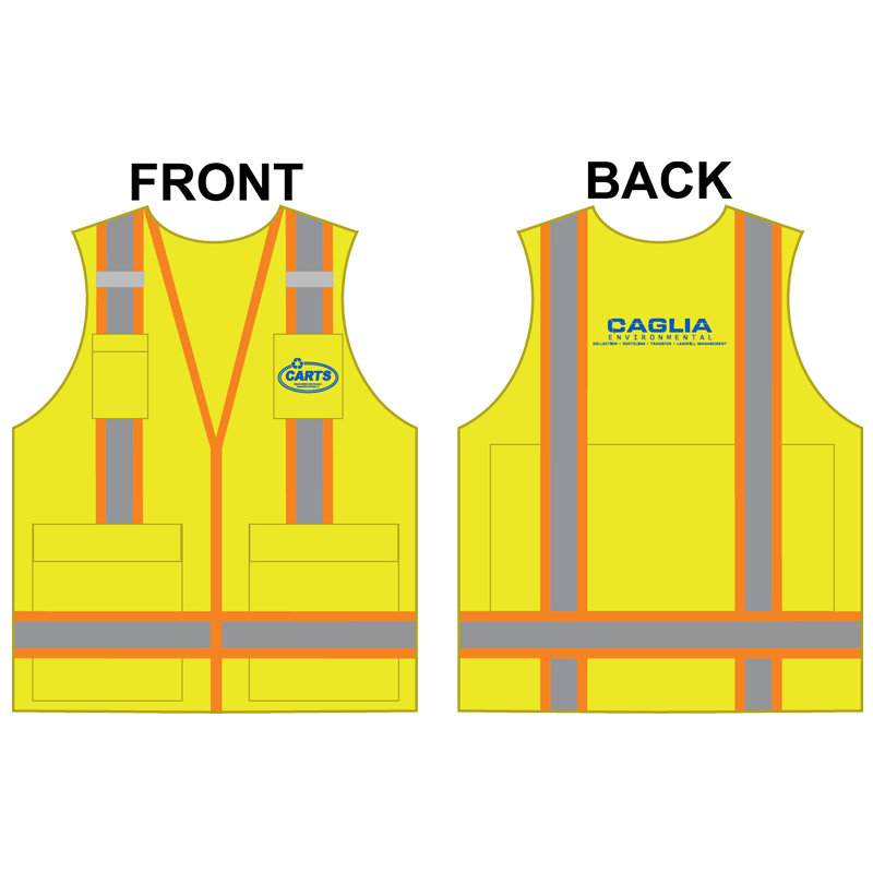 3-XL PREM CLS 2 YELLOW SURVEYORS VEST W/ IPAD POCKET W/ CAGLIA LOGO (1C - 2L)