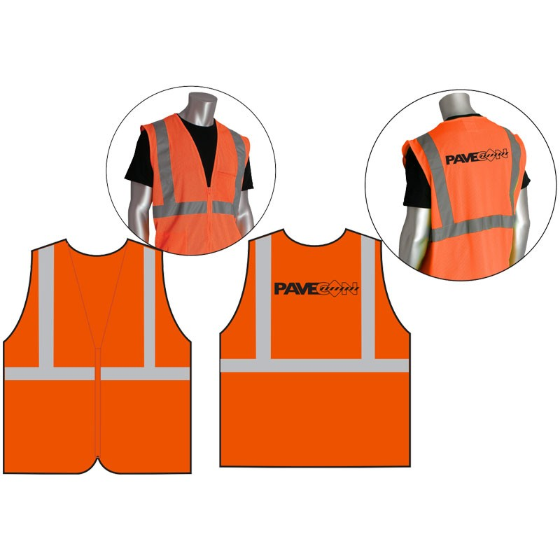 Class 2 Safety Vest - Orange Mesh, Black PaveCon Logo Printed Back Center, Small