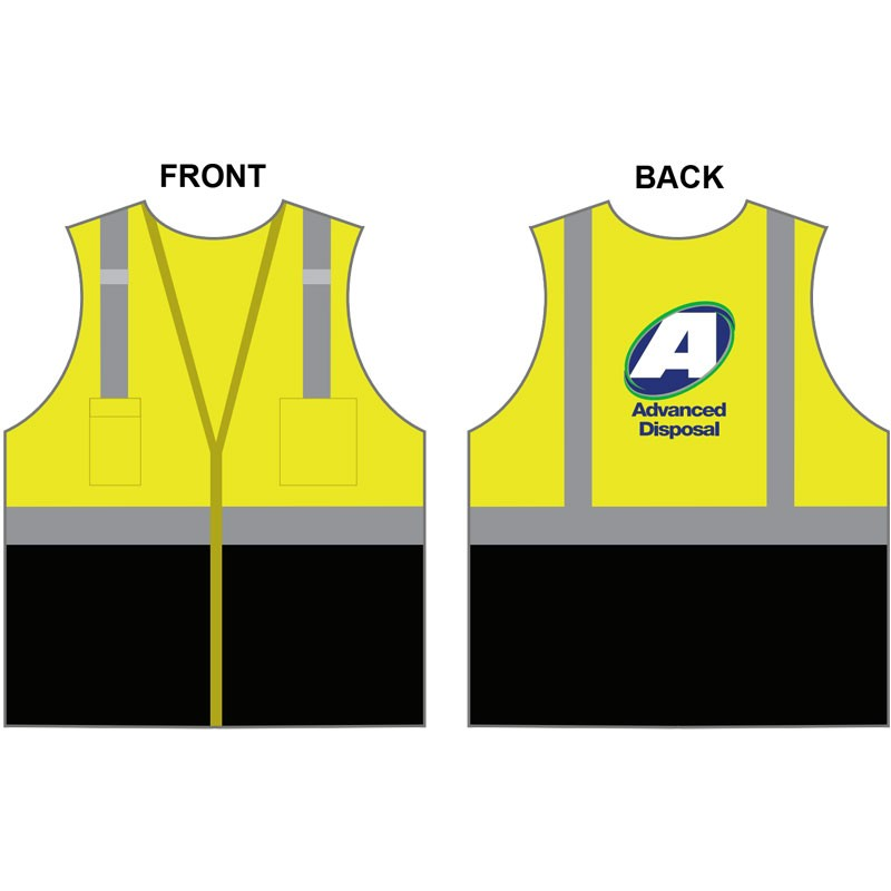 3-XL  CLS 2 LY BLACK BOTTOM MESH VEST W/ ZIPPER CLOSURE   W/ ADVANCED DISPOSAL LOGO (4C - 1L)
