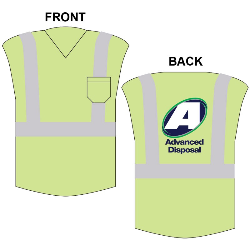 MED CLASS 2 SLEEVELESS MESH T-SHIRT W/ ADVANCED DISPOSAL LOGO (4C - 1L)