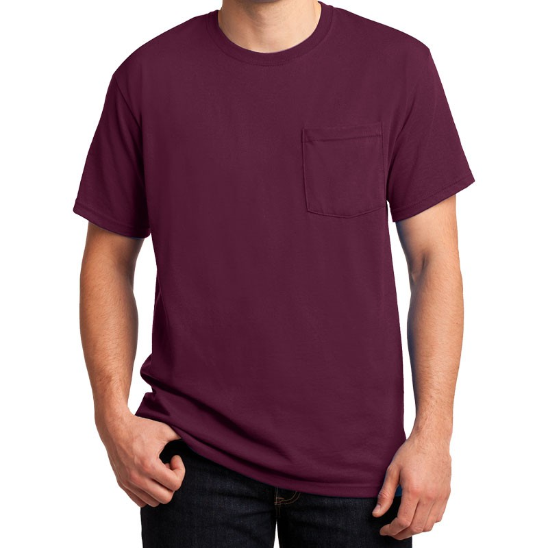 SM DRI-POWER® ACTIVE T-SHIRT - MAROON W/ CHEST POCKET