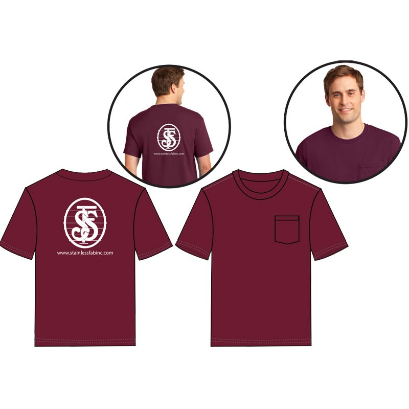 XL DRI-POWER® ACTIVE T-SHIRT - MAROON W/ CHEST POCKET  W/ STAINLESS FABRICATORS LOGO (1C - 1L)