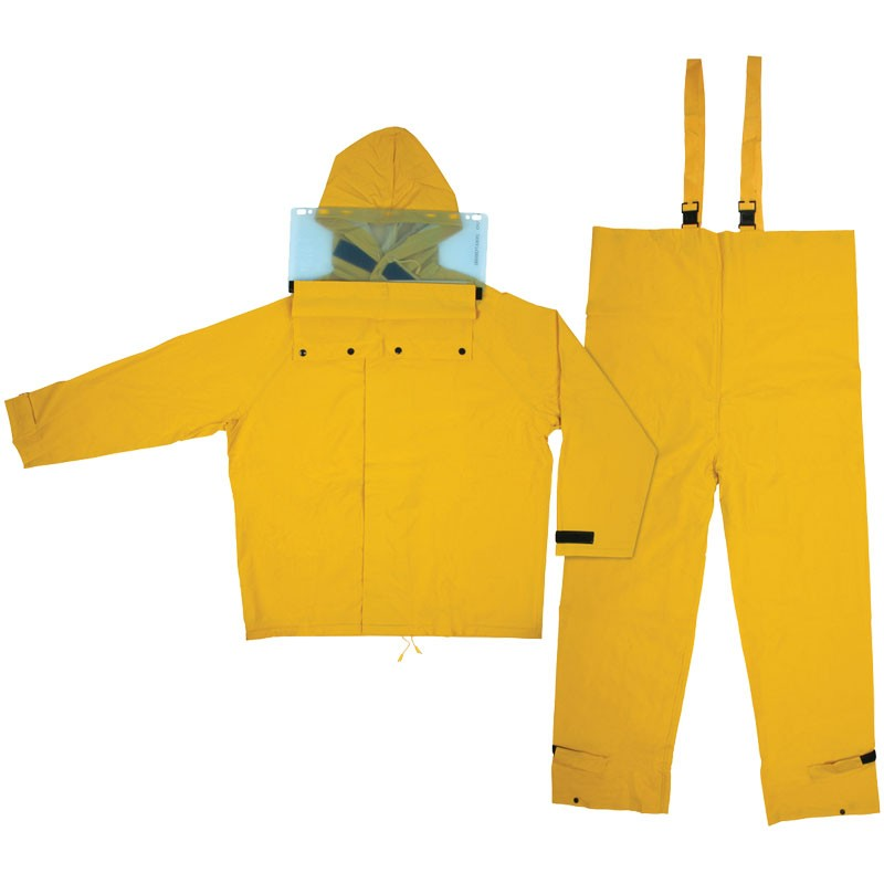 4X - Hydroblast, .35mm PVC/Polyester suit, Jacket w/attached hood, bib pants, yellow