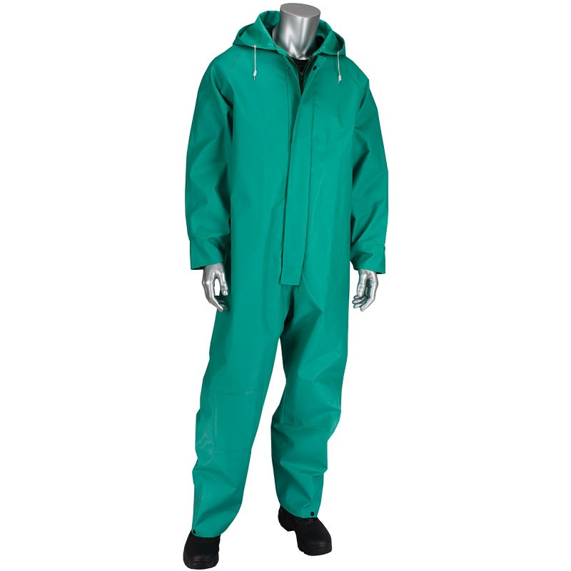ChemFR™ Treated .042mm PVC Green Coveralls with Hood, Medium