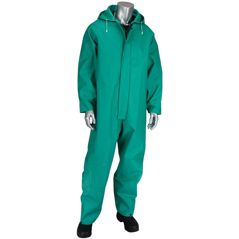 ChemFR™ Treated .042mm PVC Green Coveralls with Hood, 3-XL