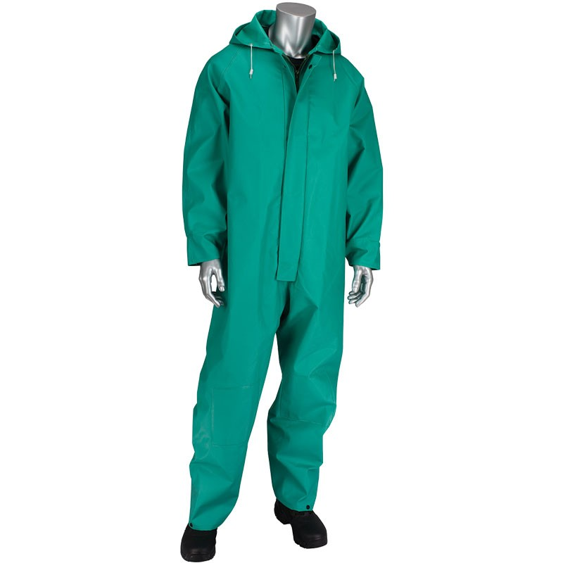 ChemFR™ Treated .042mm PVC Green Coveralls with Hood, 5-XL
