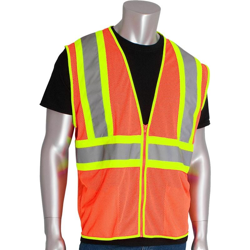 Class 2 Premium Hi-Vis Orange Mesh Safety Vest - Large