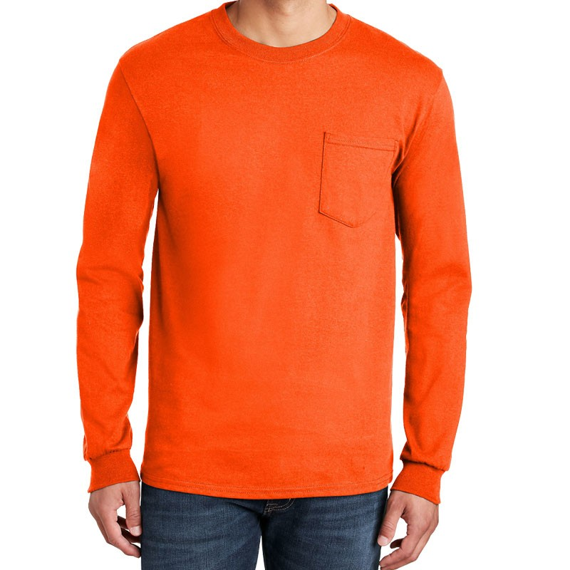 SM COTTON L/S T-SHIRT W/POCKET - ORANGE