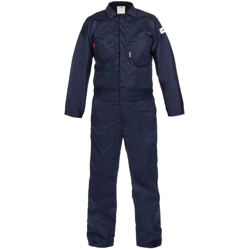 7 oz. Navy 100% FR Cotton Coverall - Lightweight, Dual-Certified, Large