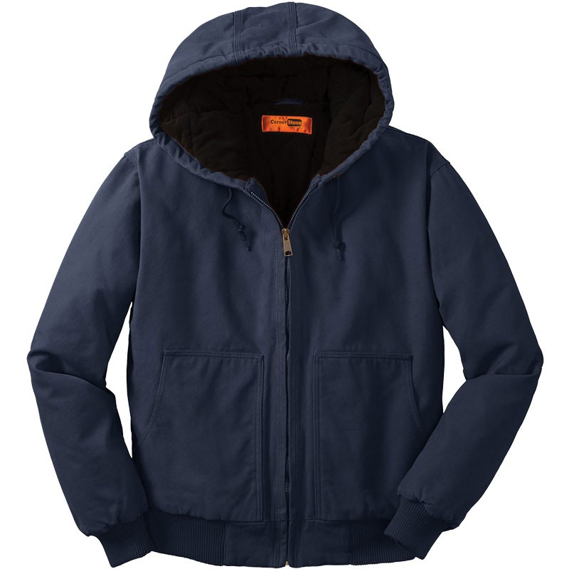 Washed Duck Cloth Insulated Hooded Work Jacket, Navy - XS
