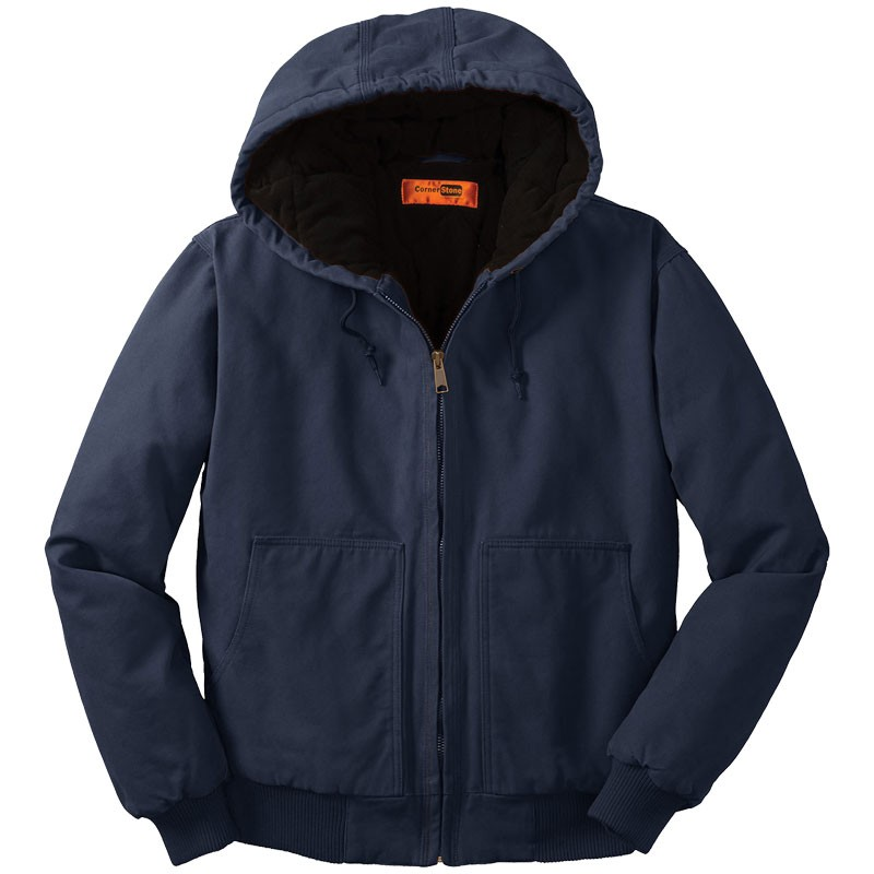 Washed Duck Cloth Insulated Hooded Work Jacket, Navy - XL