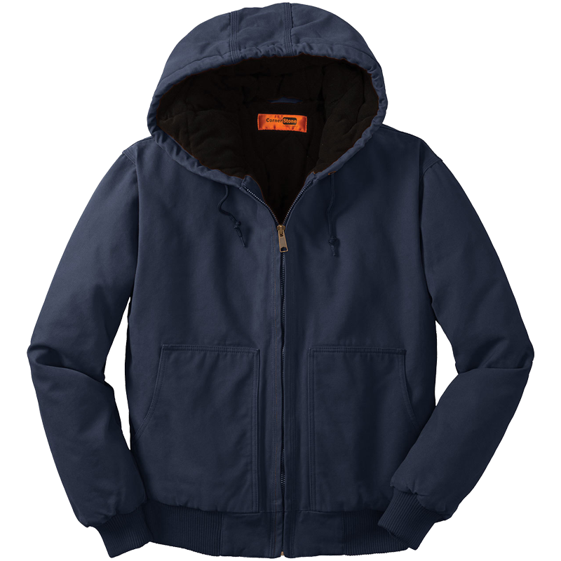 Washed Duck Cloth Insulated Hooded Work Jacket, Navy - L