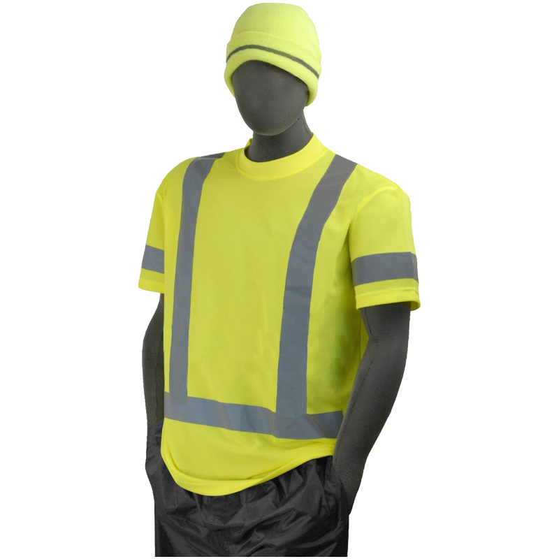 Class 3 Hi-Vis Short Sleeve w/3M Reflective Striping T-Shirt, Small