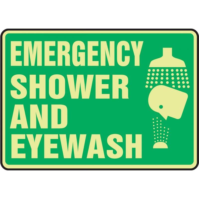 10 x 14 Lumi-Glow Plastic Emergency Shower & Eyewash Sign
