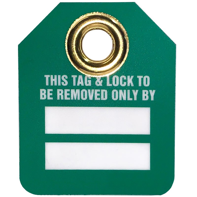"""2-1/2"""" H X 2"""" W Green/White Tag with Grommet """"This Tag & Lock To Be Removed Only By"""""""