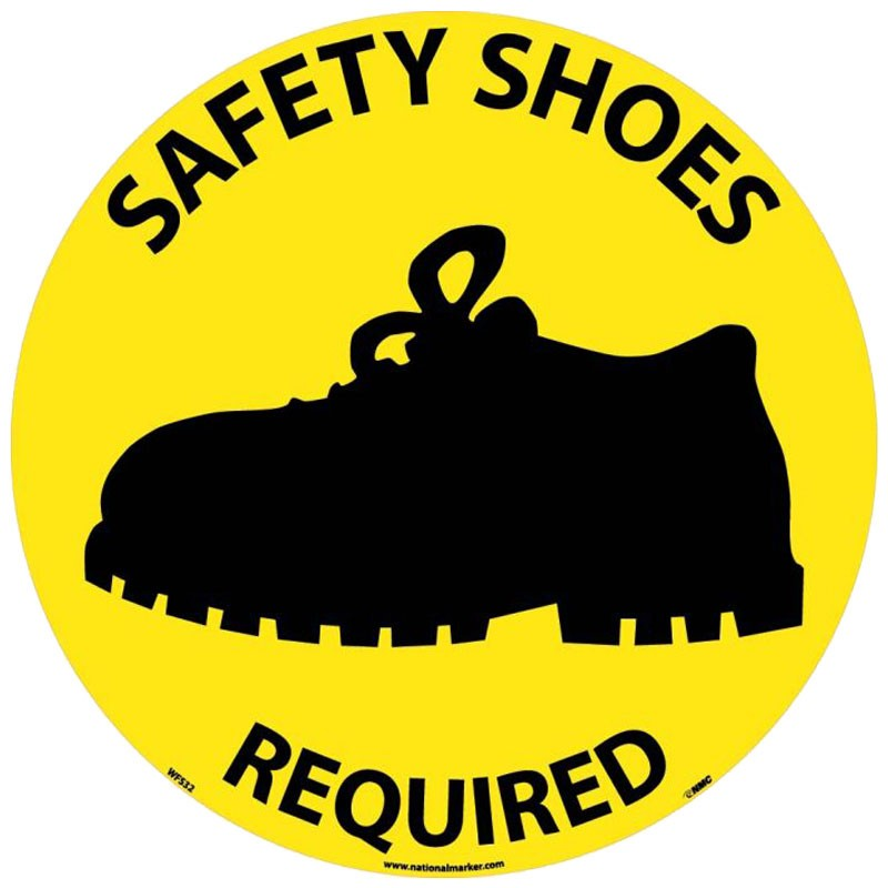 "17"" Adhesive Vinyl Floor Safety Sign - Safety Shoes Required"