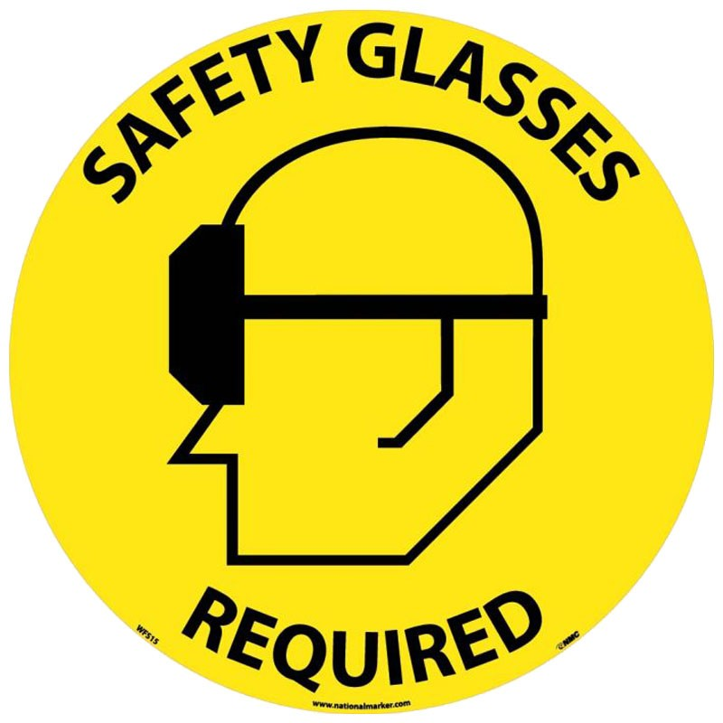 "17"" Adhesive Vinyl Floor Safety Sign - Safety Glasses Required"