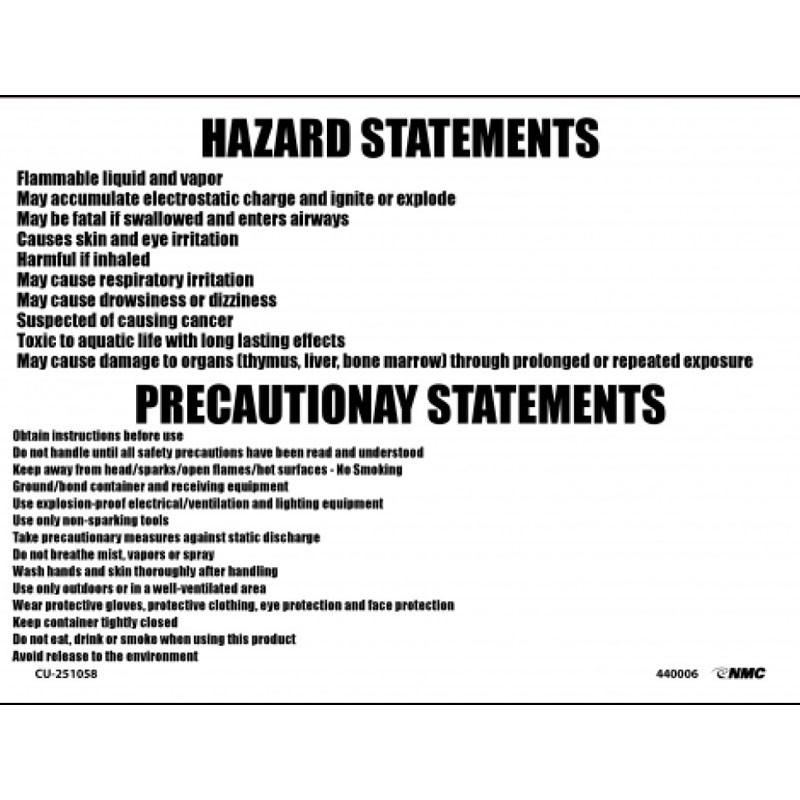 """10"""" x 14"""" Diesel Fuel Hazard Statement, Adhesive Vinyl"""