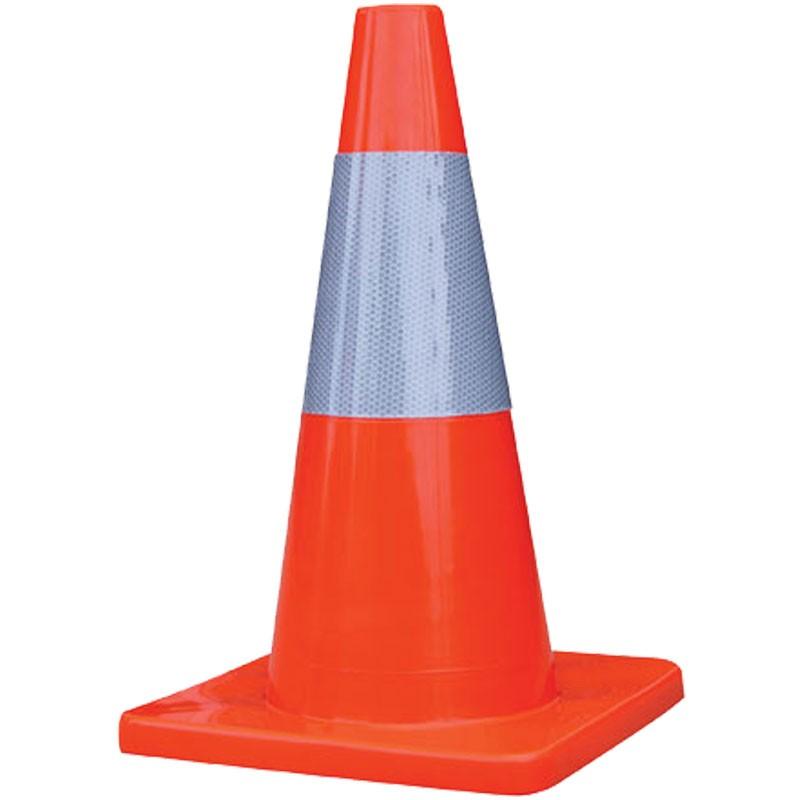 "Economy Orange Traffic Cone,  6"" Reflective Collar, 2 Lb, 18"""