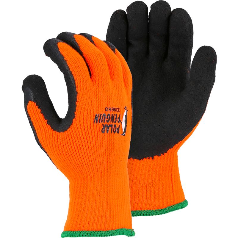Hi-Vis Polar Penguin® Thermal Glove, Latex Coated Palm, 2X-Large