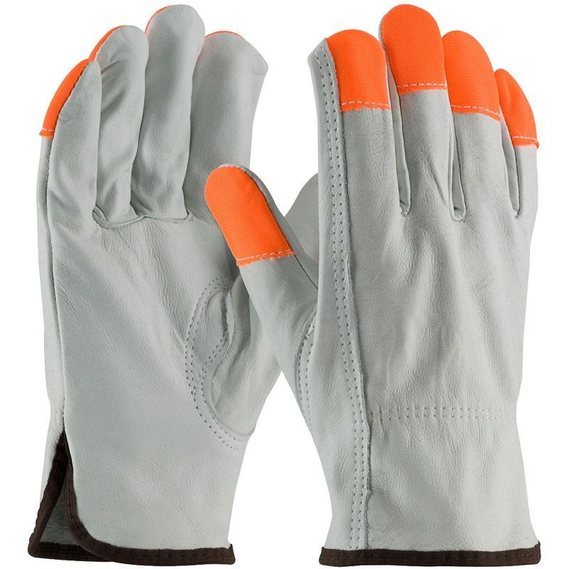 Good Top-Grain Cowhide Drivers Glove, Hi-Vis Fingertips, Small