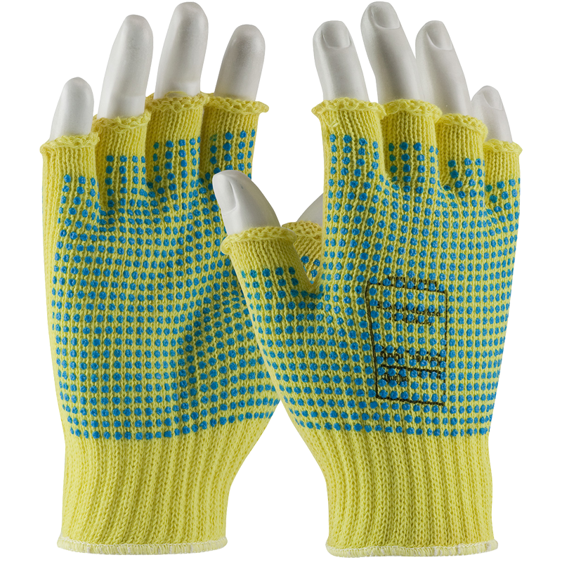 Kut Gard® Seamless Knit Kevlar® Glove with Double-Sided PVC Dot Grip - Half-Finger, Medium
