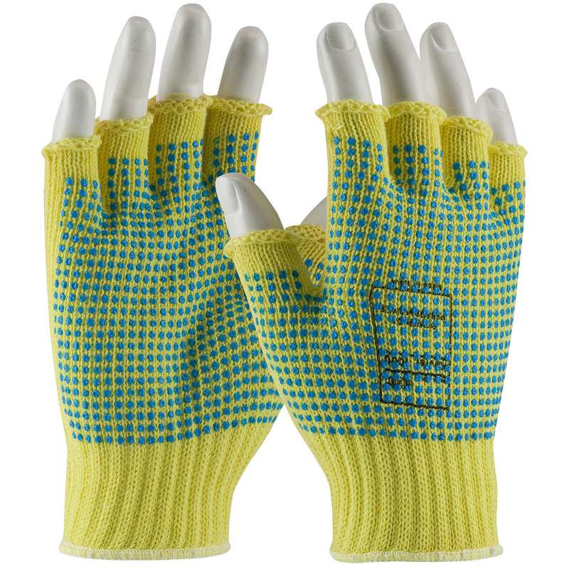 Kut Gard® Seamless Knit Kevlar® Glove with Double-Sided PVC Dot Grip - Half-Finger, X-Large